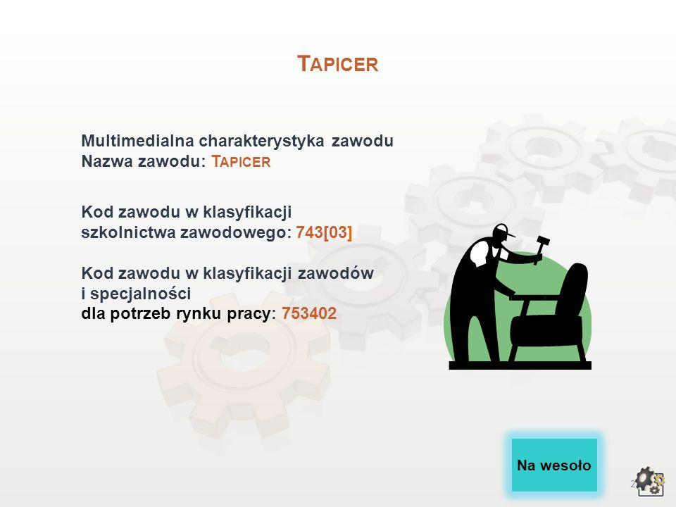 Tapicer Multimedialna charakterystyka zawodu Nazwa zawodu: Tapicer