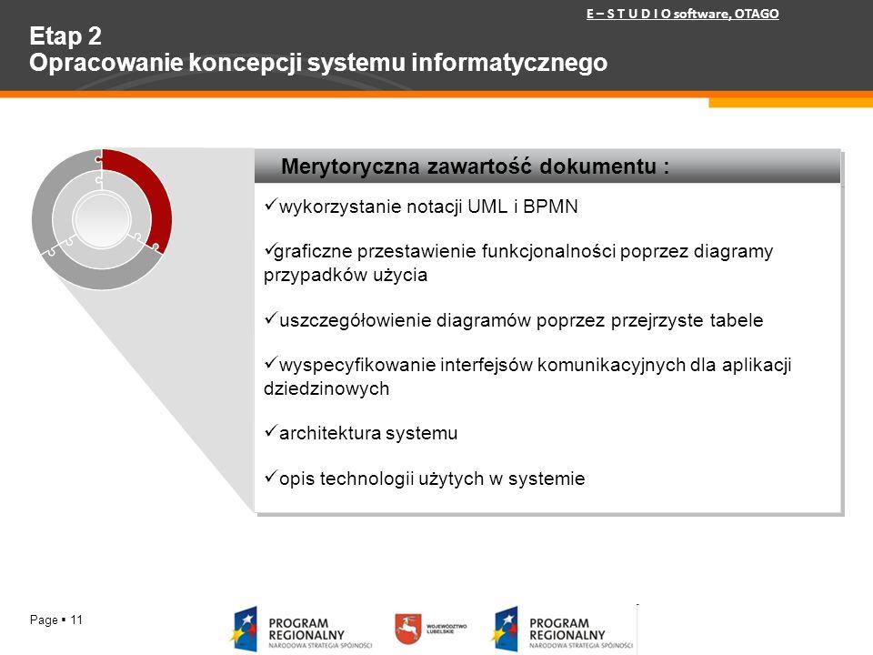 Etap 2 Opracowanie koncepcji systemu informatycznego