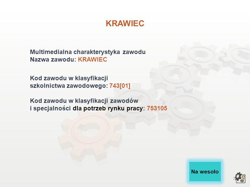 KRAWIEC Multimedialna charakterystyka zawodu Nazwa zawodu: KRAWIEC
