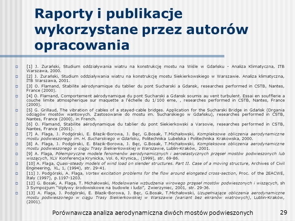 Raporty i publikacje wykorzystane przez autorów opracowania