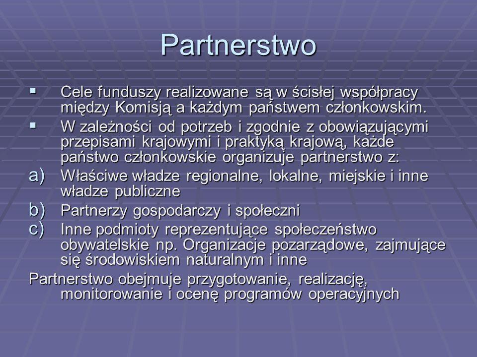 Partnerstwo Cele funduszy realizowane są w ścisłej współpracy między Komisją a każdym państwem członkowskim.