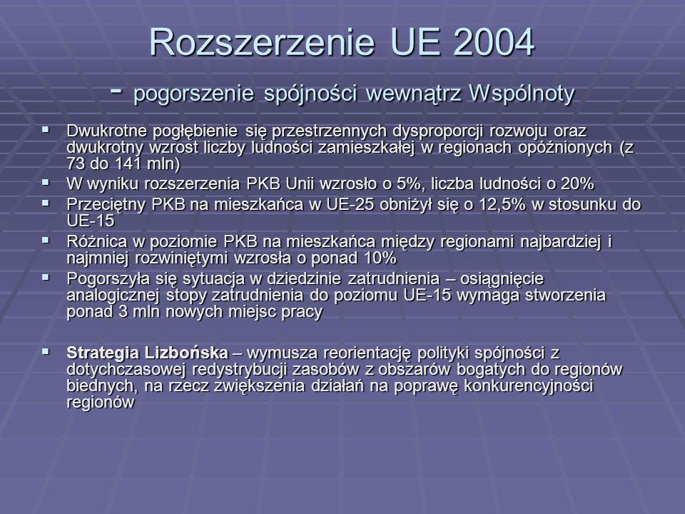 Rozszerzenie UE 2004 - pogorszenie spójności wewnątrz Wspólnoty
