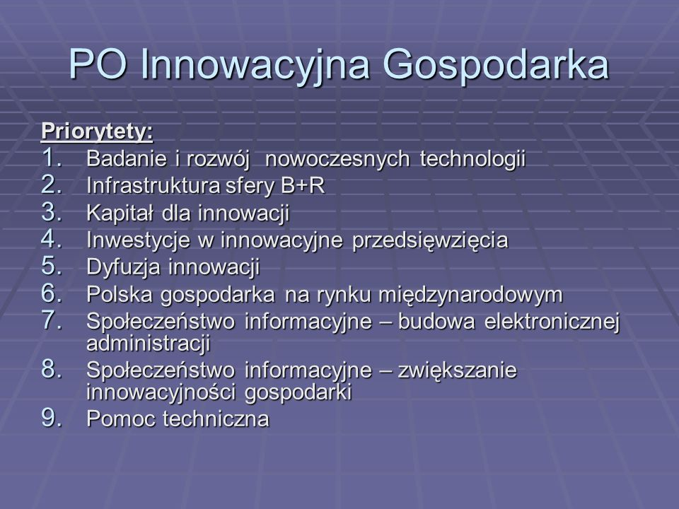 PO Innowacyjna Gospodarka