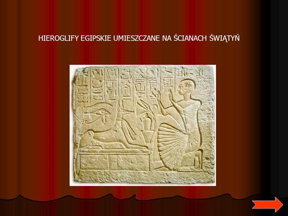 HIEROGLIFY EGIPSKIE UMIESZCZANE NA ŚCIANACH ŚWIĄTYŃ