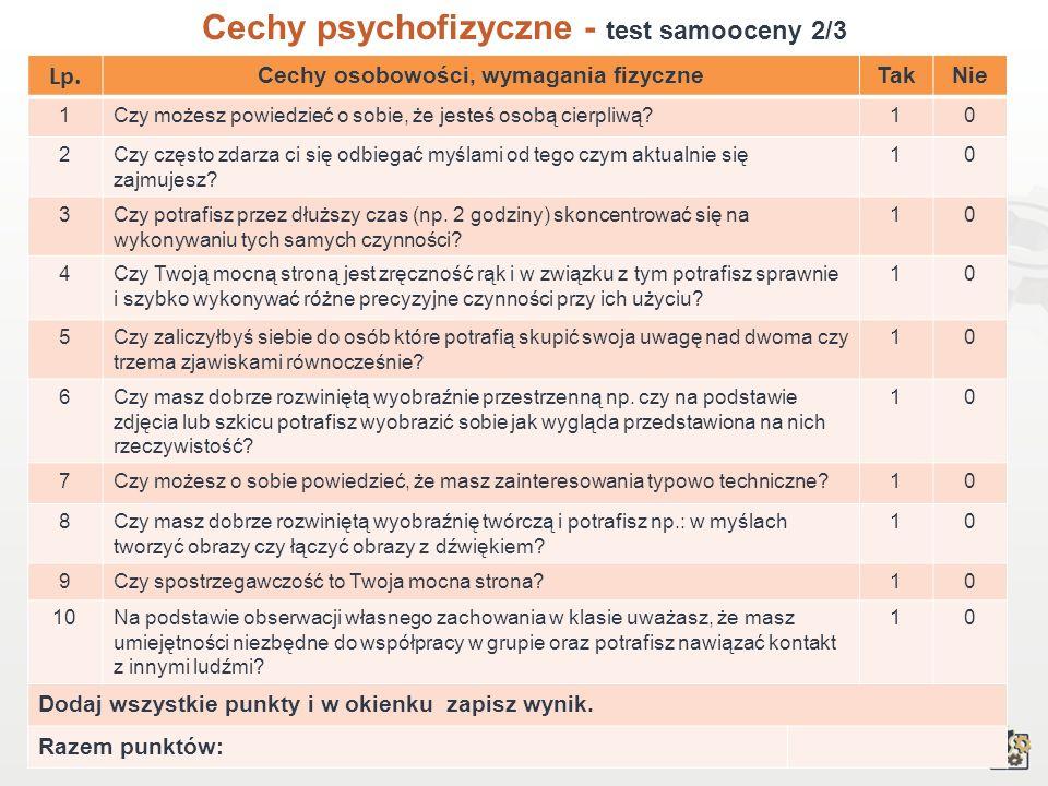 Cechy psychofizyczne - test samooceny 2/3
