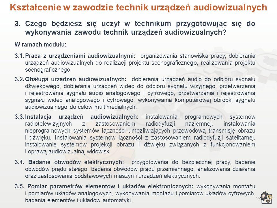 Kształcenie w zawodzie technik urządzeń audiowizualnych