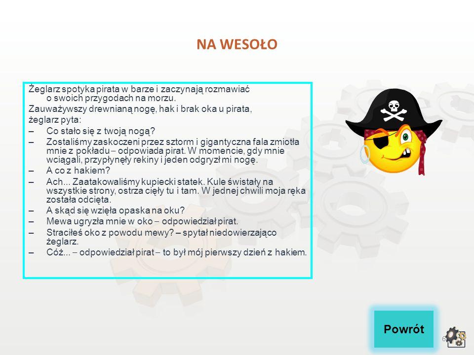 NA WESOŁO Żeglarz spotyka pirata w barze i zaczynają rozmawiać o swoich przygodach na morzu. Zauważywszy drewnianą nogę, hak i brak oka u pirata,