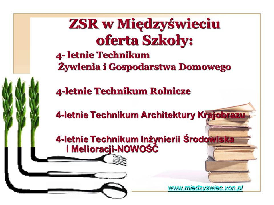 ZSR w Międzyświeciu oferta Szkoły: