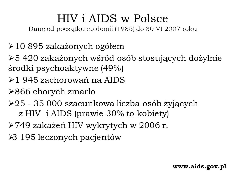 HIV i AIDS w Polsce Dane od początku epidemii (1985) do 30 VI 2007 roku