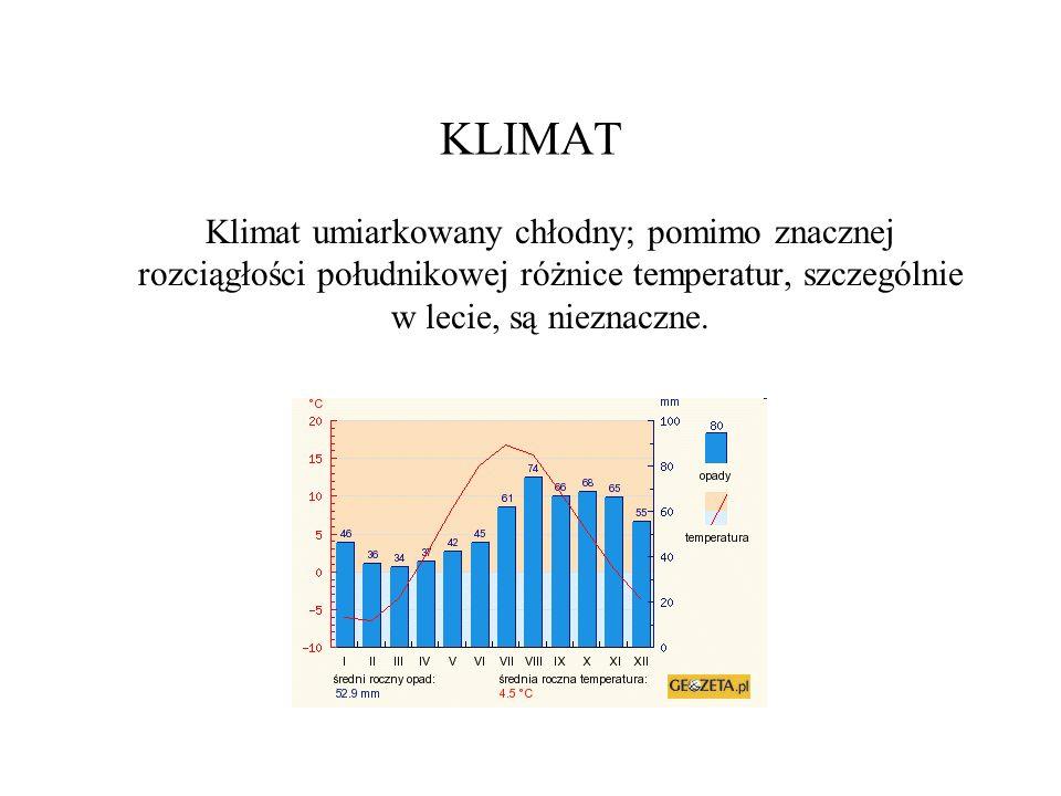 KLIMATKlimat umiarkowany chłodny; pomimo znacznej rozciągłości południkowej różnice temperatur, szczególnie w lecie, są nieznaczne.