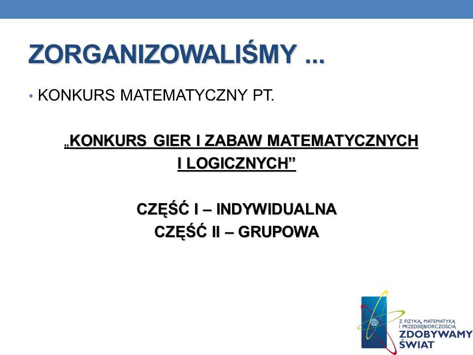"""""""KONKURS GIER I ZABAW MATEMATYCZNYCH"""