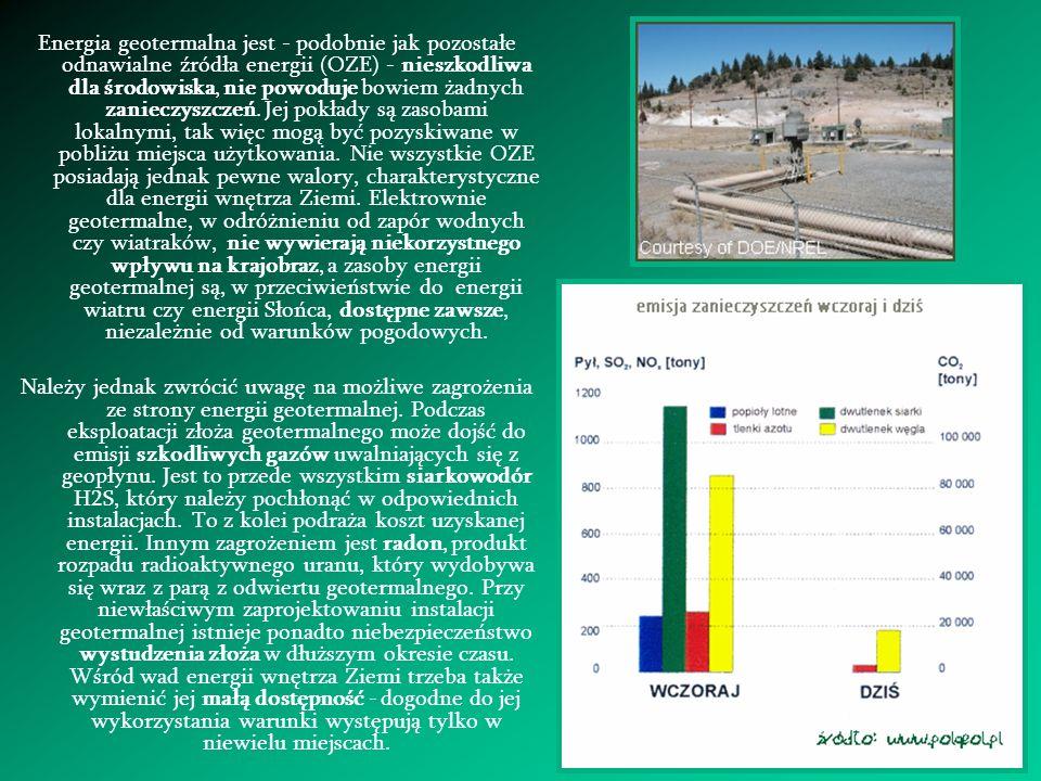 Energia geotermalna jest - podobnie jak pozostałe odnawialne źródła energii (OZE) - nieszkodliwa dla środowiska, nie powoduje bowiem żadnych zanieczyszczeń. Jej pokłady są zasobami lokalnymi, tak więc mogą być pozyskiwane w pobliżu miejsca użytkowania. Nie wszystkie OZE posiadają jednak pewne walory, charakterystyczne dla energii wnętrza Ziemi. Elektrownie geotermalne, w odróżnieniu od zapór wodnych czy wiatraków, nie wywierają niekorzystnego wpływu na krajobraz, a zasoby energii geotermalnej są, w przeciwieństwie do energii wiatru czy energii Słońca, dostępne zawsze, niezależnie od warunków pogodowych.