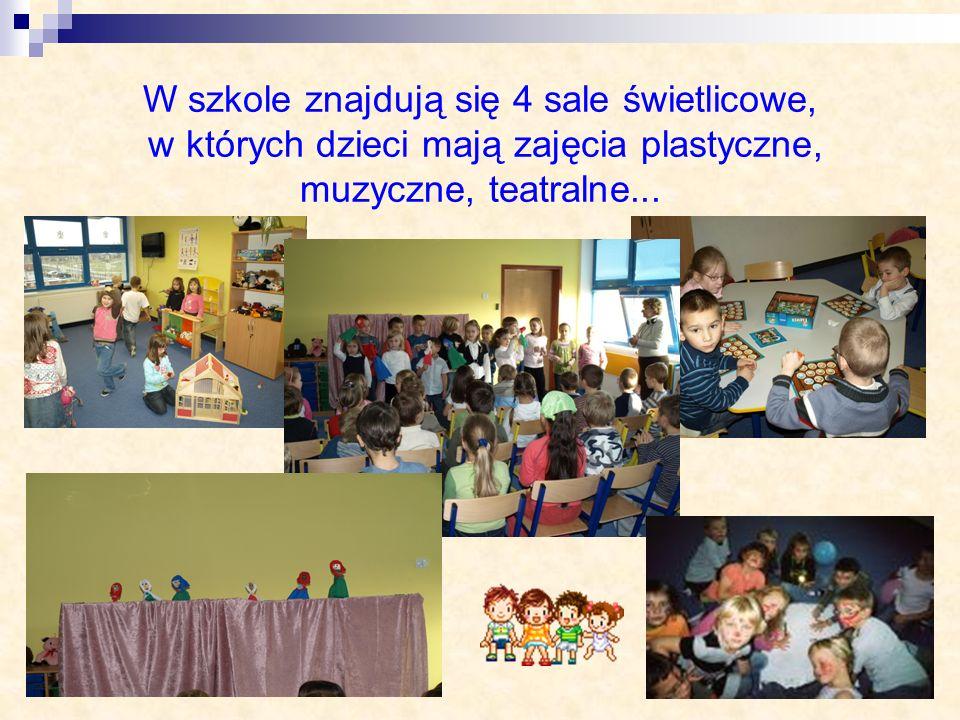 W szkole znajdują się 4 sale świetlicowe, w których dzieci mają zajęcia plastyczne, muzyczne, teatralne...