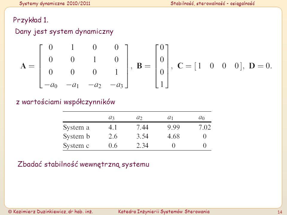 Przykład 1. Dany jest system dynamiczny. z wartościami współczynników.