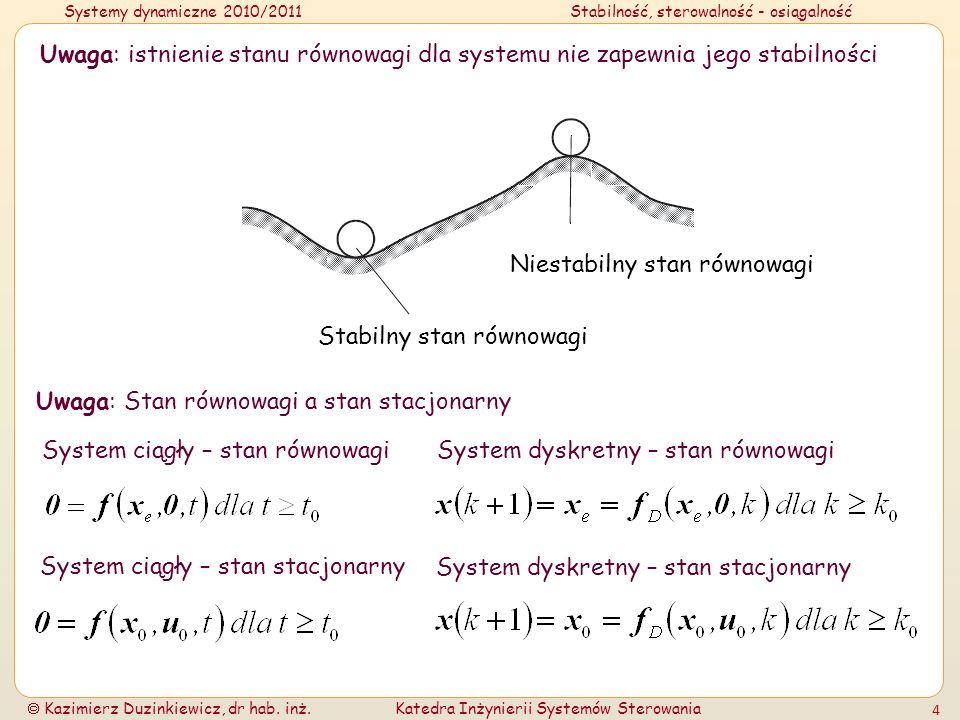 Uwaga: istnienie stanu równowagi dla systemu nie zapewnia jego stabilności