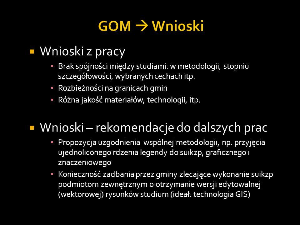 GOM  Wnioski Wnioski z pracy Wnioski – rekomendacje do dalszych prac