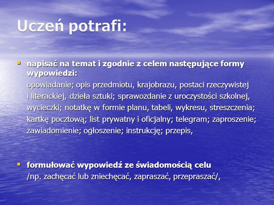 Uczeń potrafi: napisać na temat i zgodnie z celem następujące formy wypowiedzi: opowiadanie; opis przedmiotu, krajobrazu, postaci rzeczywistej.