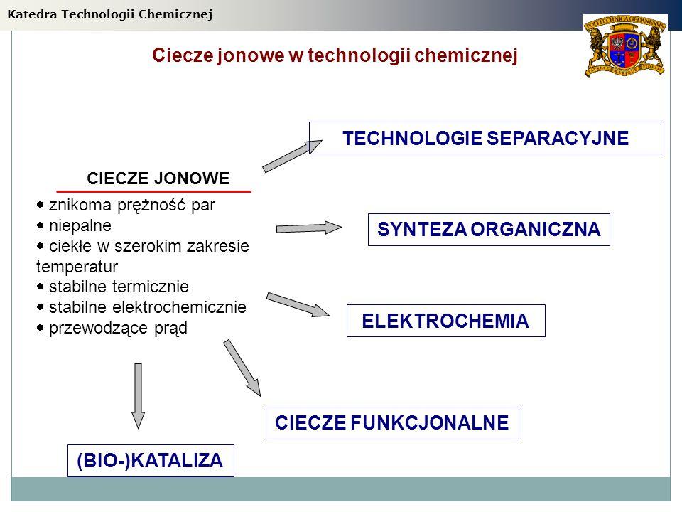 Ciecze jonowe w technologii chemicznej TECHNOLOGIE SEPARACYJNE