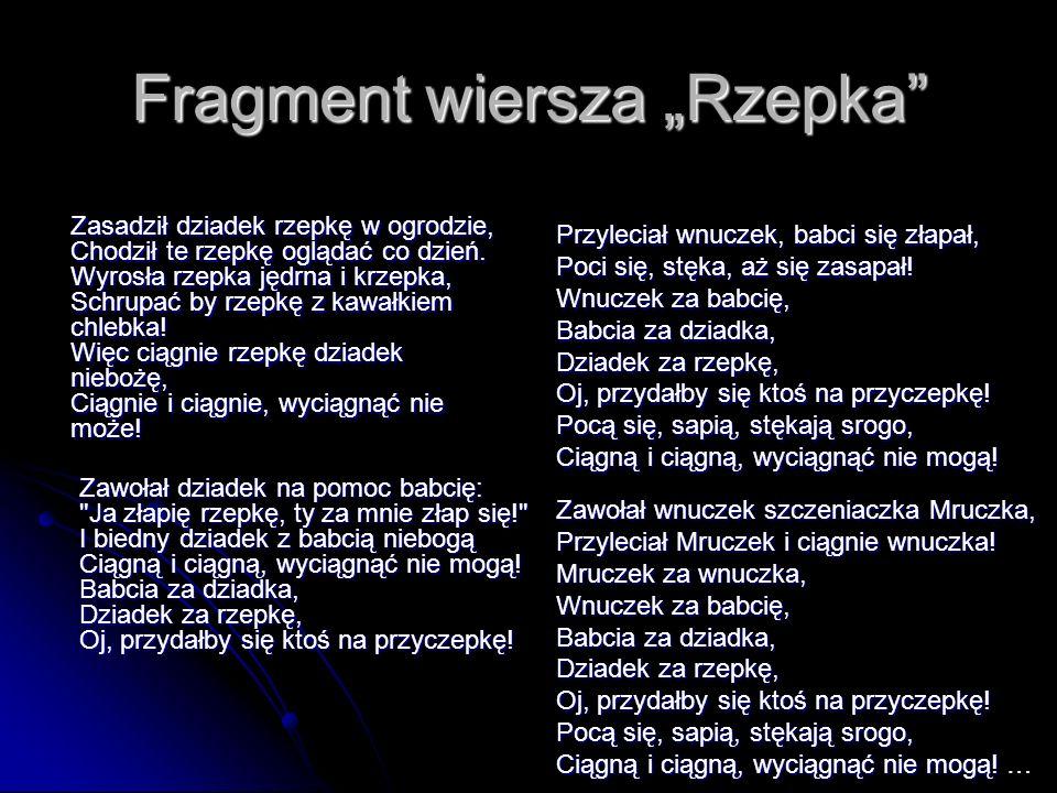 """Fragment wiersza """"Rzepka"""
