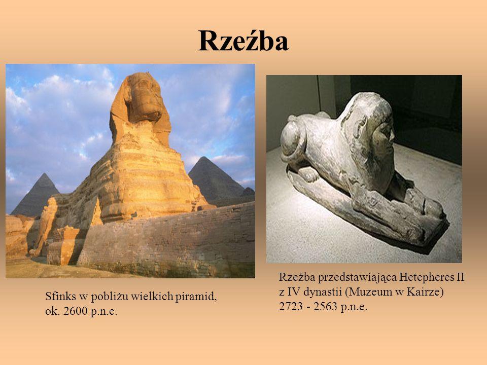 Rzeźba Rzeźba przedstawiająca Hetepheres II z IV dynastii (Muzeum w Kairze) 2723 - 2563 p.n.e. Sfinks w pobliżu wielkich piramid,