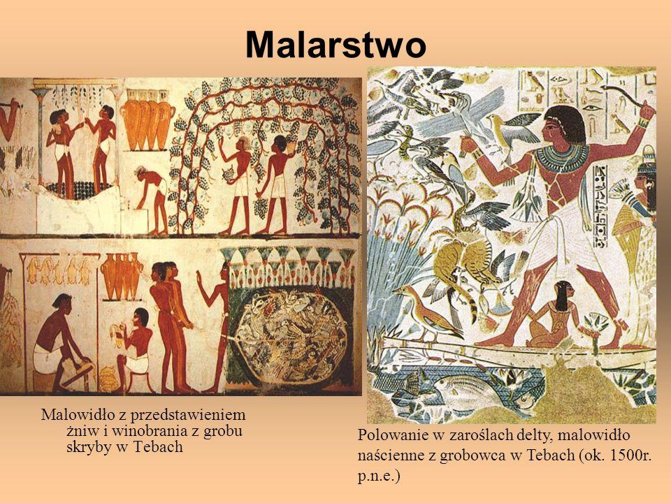 Malarstwo Malowidło z przedstawieniem żniw i winobrania z grobu skryby w Tebach. Polowanie w zaroślach delty, malowidło.