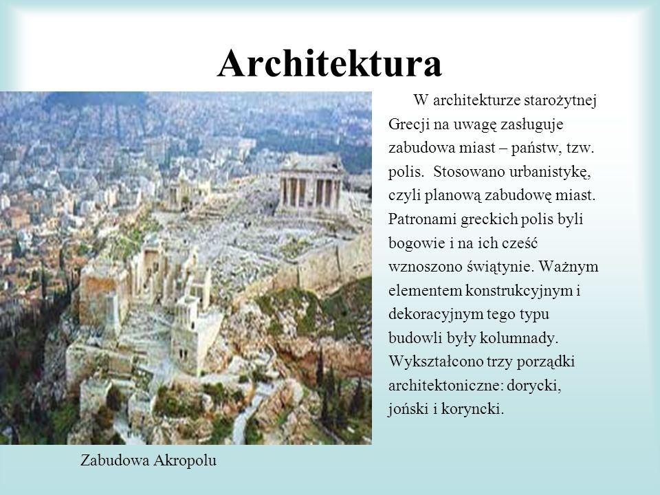 Architektura W architekturze starożytnej Grecji na uwagę zasługuje