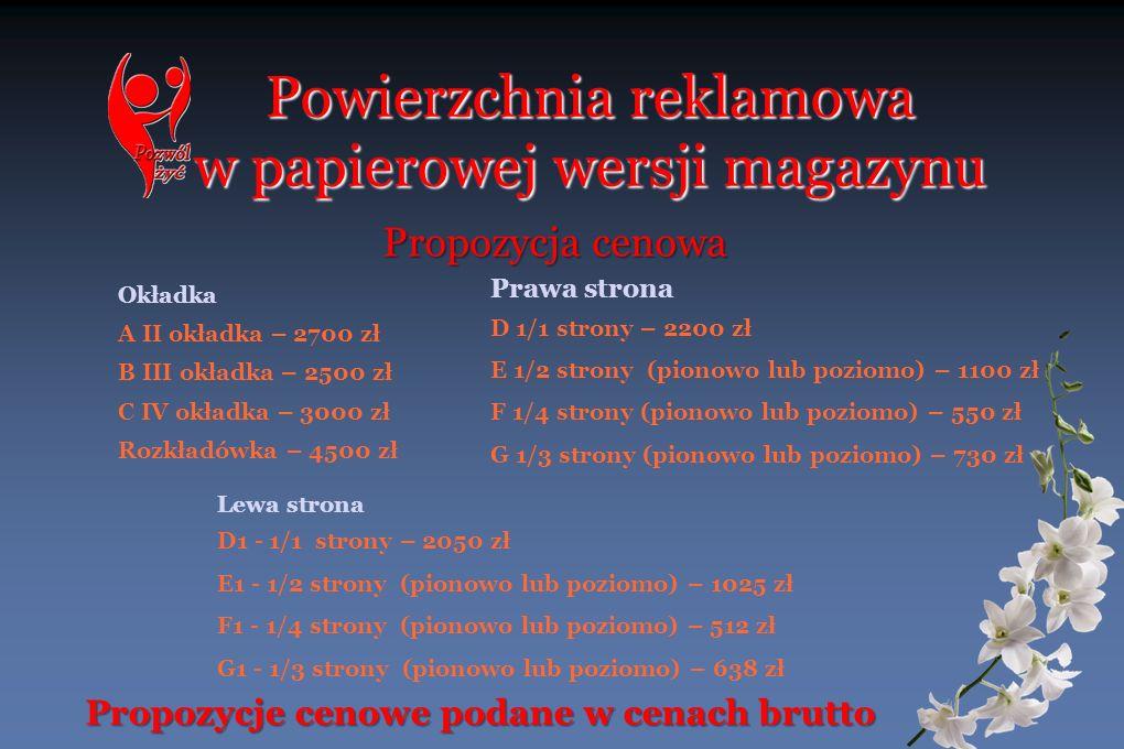 Powierzchnia reklamowa w papierowej wersji magazynu