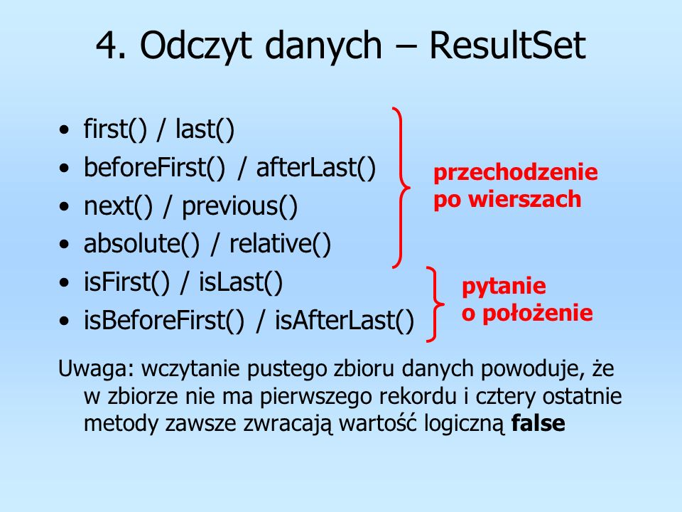 4. Odczyt danych – ResultSet