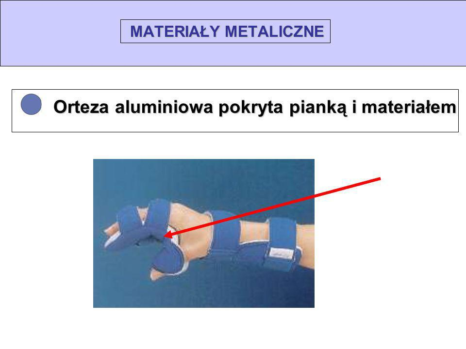 • Orteza aluminiowa pokryta pianką i materiałem