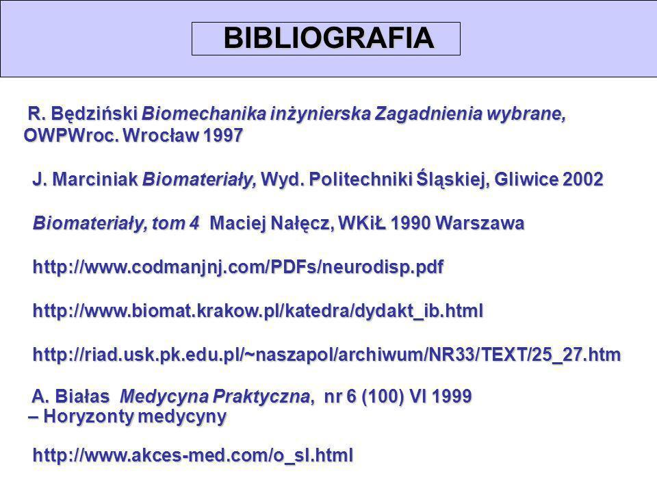 BIBLIOGRAFIA R. Będziński Biomechanika inżynierska Zagadnienia wybrane, OWPWroc. Wrocław 1997.