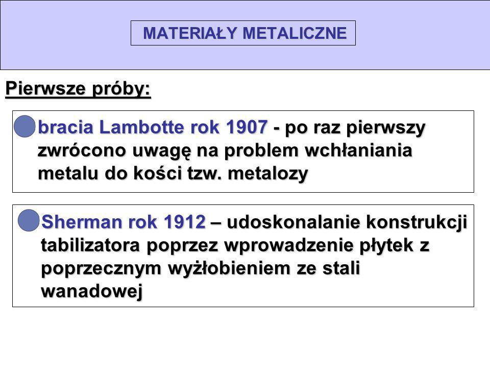 MATERIAŁY METALICZNE Pierwsze próby: bracia Lambotte rok 1907 - po raz pierwszy zwrócono uwagę na problem wchłaniania metalu do kości tzw. metalozy.