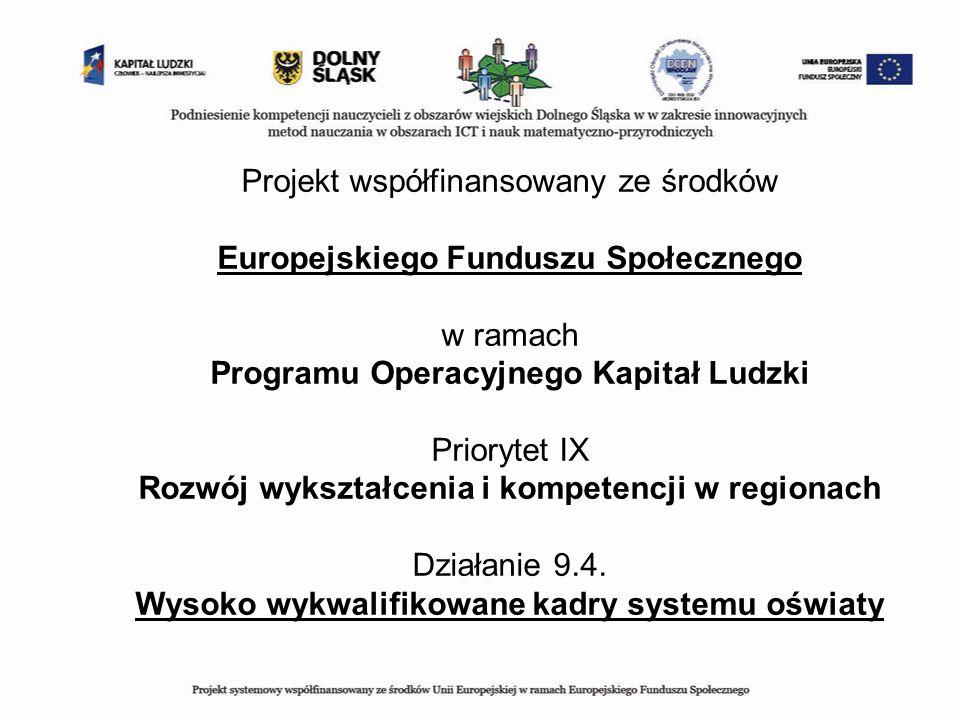 Projekt współfinansowany ze środków Europejskiego Funduszu Społecznego