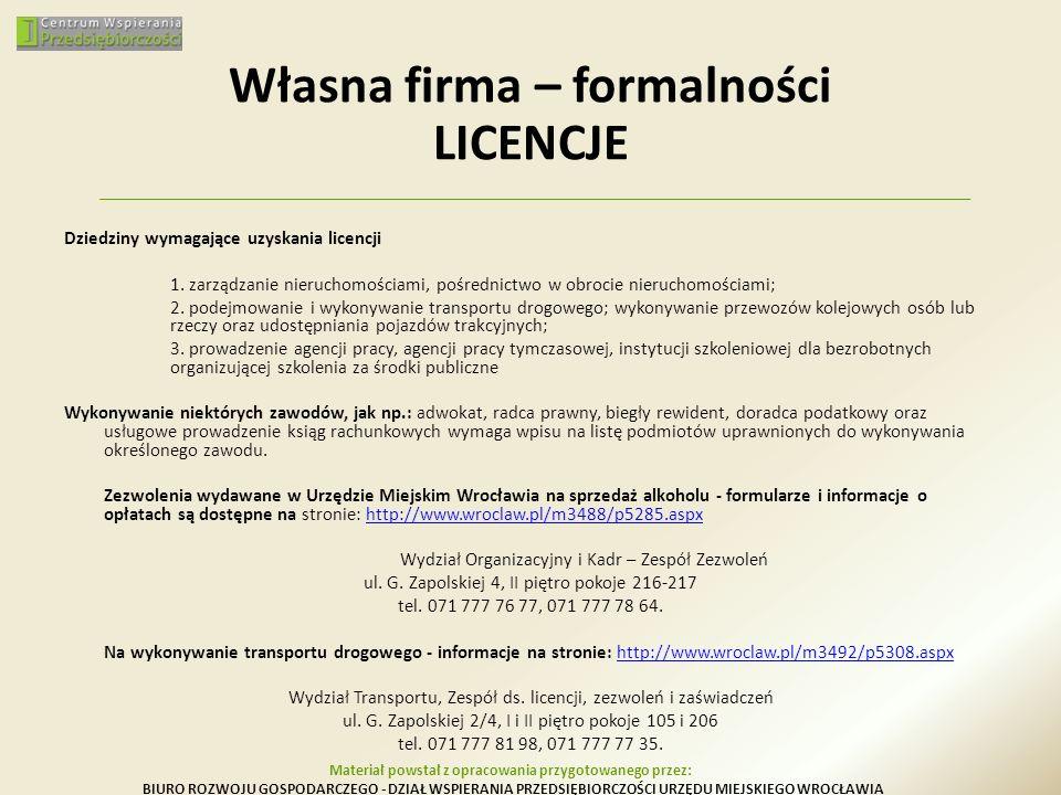 Własna firma – formalności LICENCJE