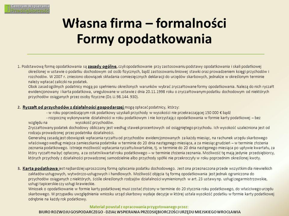 Własna firma – formalności Formy opodatkowania