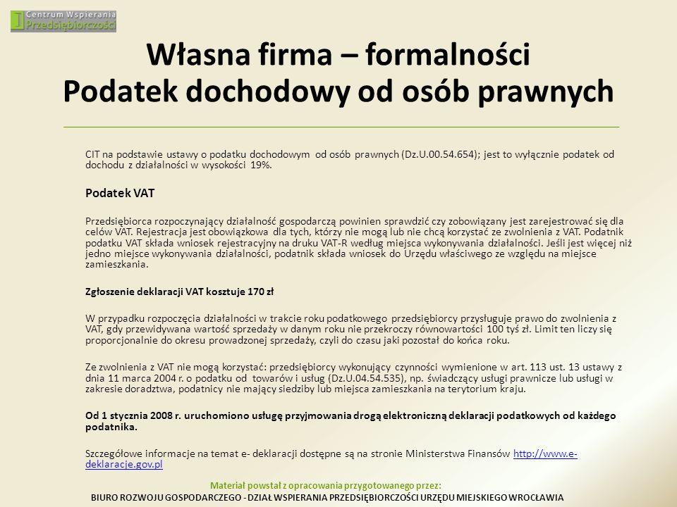 Własna firma – formalności Podatek dochodowy od osób prawnych