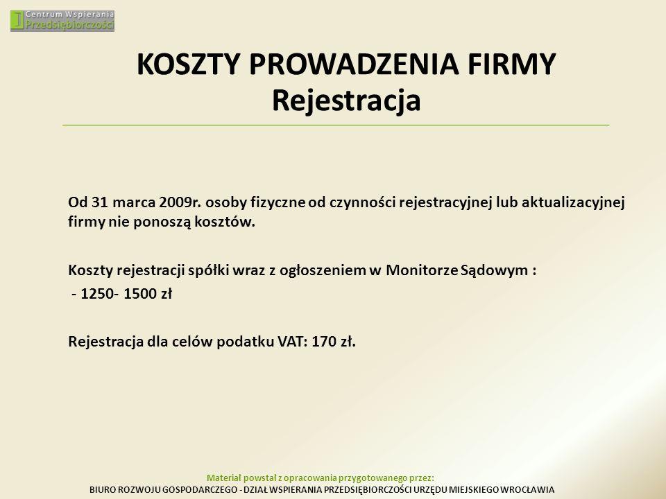KOSZTY PROWADZENIA FIRMY Rejestracja