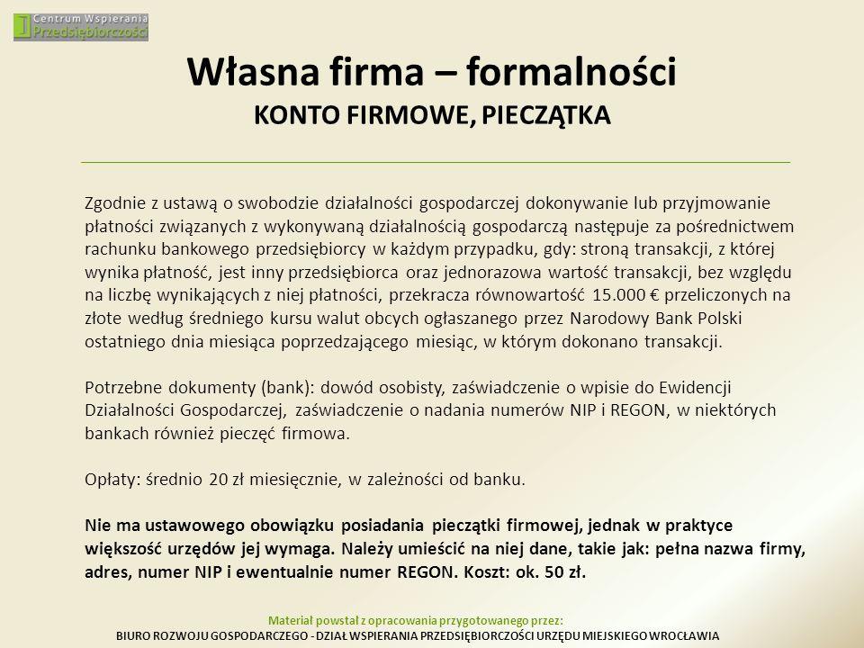Własna firma – formalności KONTO FIRMOWE, PIECZĄTKA