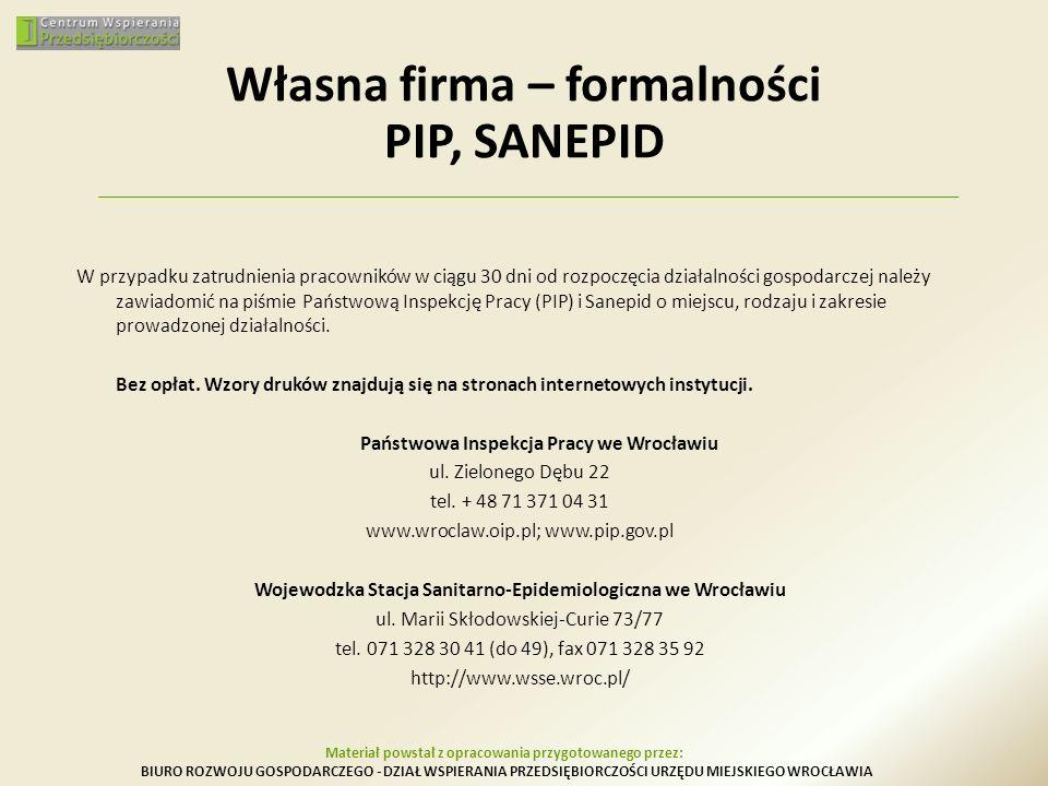 Własna firma – formalności PIP, SANEPID