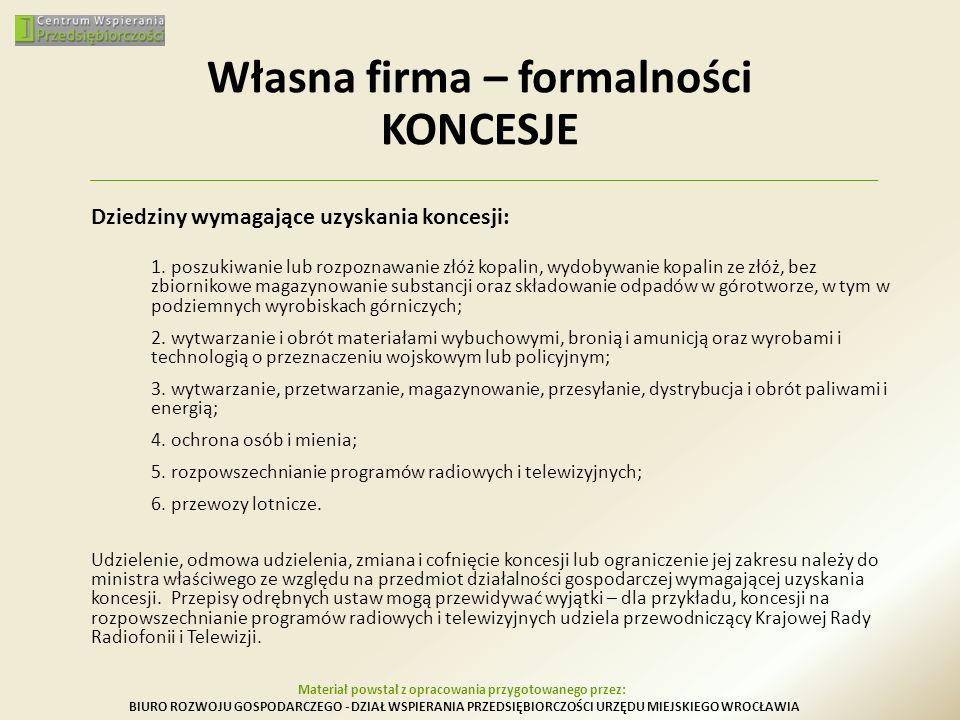 Własna firma – formalności KONCESJE