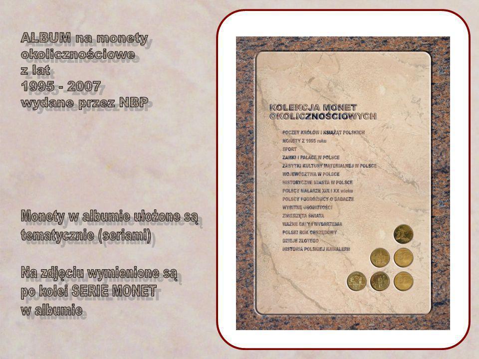 ALBUM na monety okolicznościowe. z lat. 1995 - 2007. wydane przez NBP. Monety w albumie ułożone są.