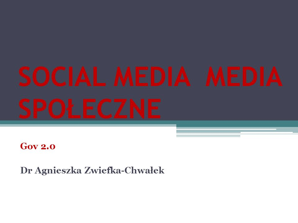 SOCIAL MEDIA MEDIA SPOŁECZNE