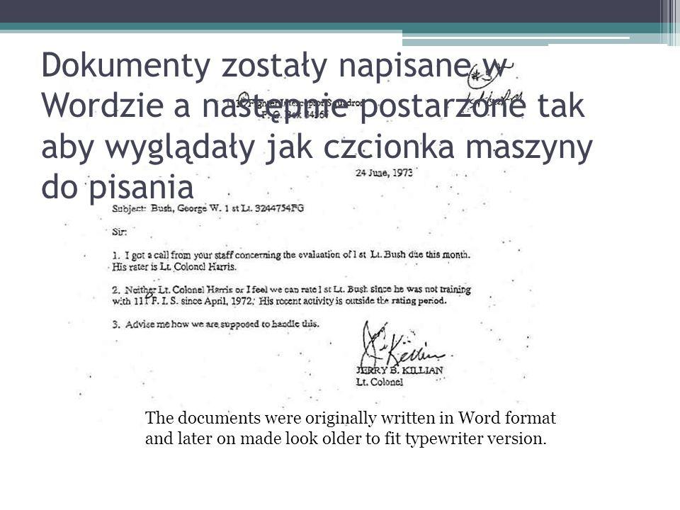 Dokumenty zostały napisane w Wordzie a następnie postarzone tak aby wyglądały jak czcionka maszyny do pisania