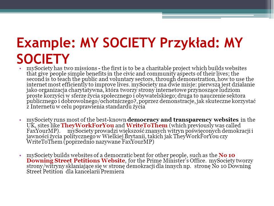 Example: MY SOCIETY Przykład: MY SOCIETY