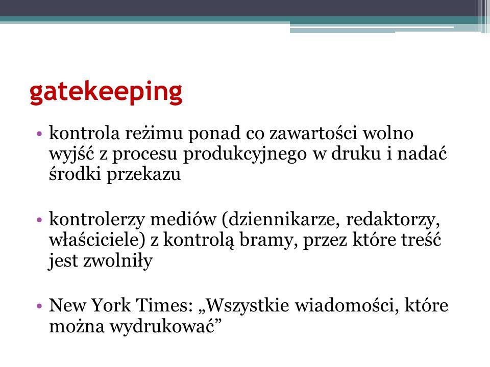 gatekeeping kontrola reżimu ponad co zawartości wolno wyjść z procesu produkcyjnego w druku i nadać środki przekazu.