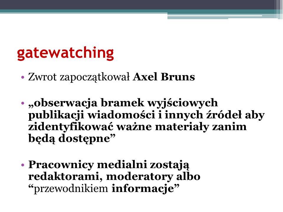 gatewatching Zwrot zapoczątkował Axel Bruns