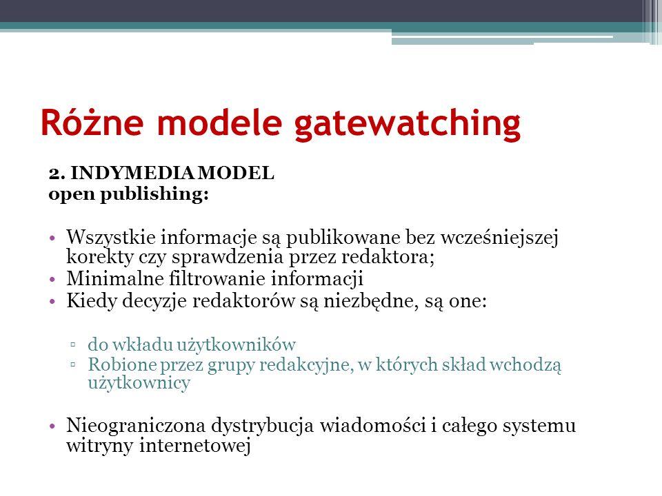 Różne modele gatewatching
