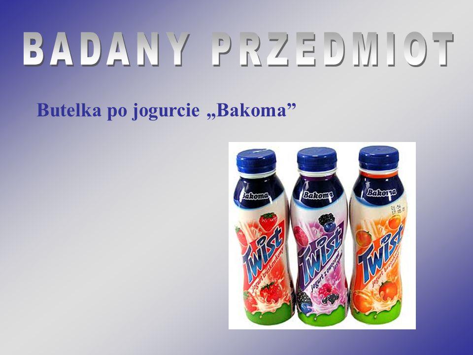 """BADANY PRZEDMIOT Butelka po jogurcie """"Bakoma"""