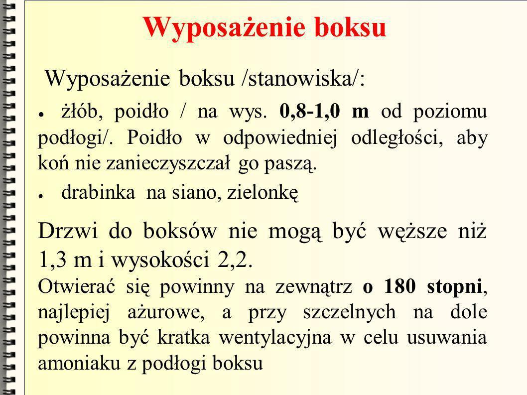 Wyposażenie boksu Wyposażenie boksu /stanowiska/: