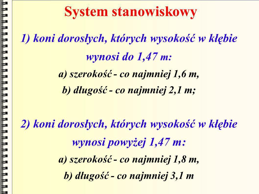 System stanowiskowy 1) koni dorosłych, których wysokość w kłębie wynosi do 1,47 m: a) szerokość - co najmniej 1,6 m, b) długość - co najmniej 2,1 m;
