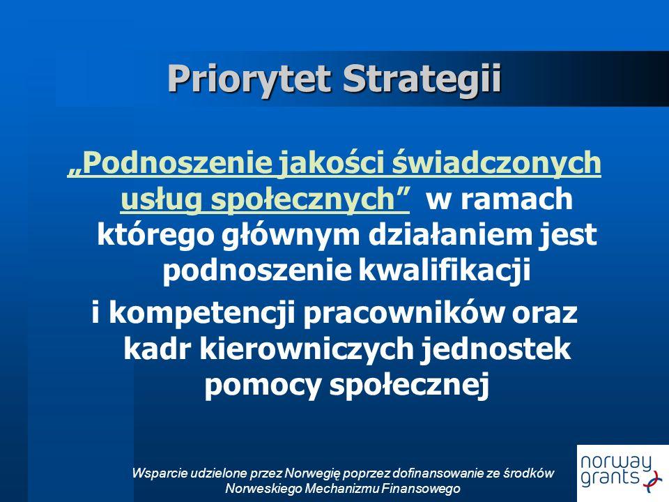 """Priorytet Strategii """"Podnoszenie jakości świadczonych usług społecznych w ramach którego głównym działaniem jest podnoszenie kwalifikacji."""